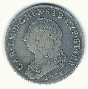 D/ CARLO EMANUELE III - 1/2 Scudo da 3 Lire 1758. R - AR - q.BB/BB