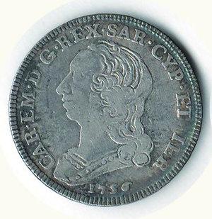 D/ SAVOIA - Carlo Emanuele III - Quarto di Scudo nuovo 1756; D/ Busto a s.; R/ Stemma ovale coronato - MIR 948b. AR - MB