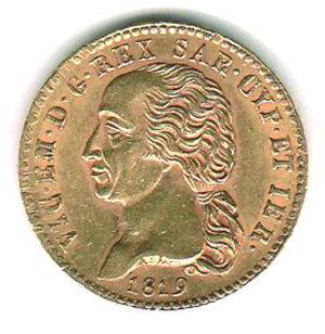 obverse: REGNO DI SARDEGNA Vittorio Emanuele I 20 lire 1819