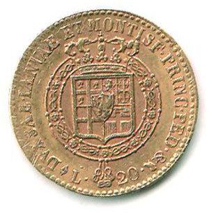 reverse: REGNO DI SARDEGNA Vittorio Emanuele I 20 lire 1819