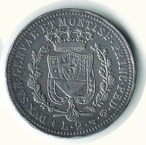 reverse: Carlo Felice - 2 Lire 1825 - TO