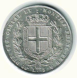 reverse: Carlo Alberto - 5 Lire 1844 - TO