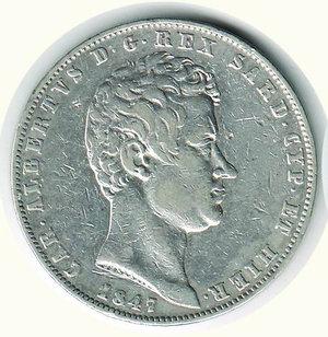 obverse: Carlo Alberto - 5 Lire 1847 - GE