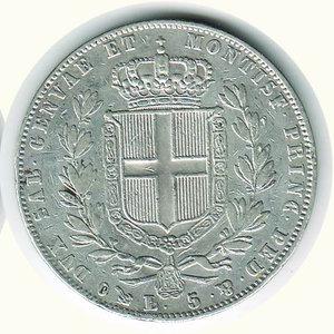 reverse: Carlo Alberto - 5 Lire 1847 - GE