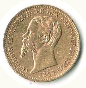 obverse: VITTORIO EMANUELE II - 20 Lire 1851 - GE