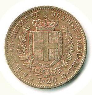 reverse: VITTORIO EMANUELE II 20 lire 1852