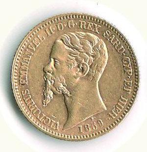 obverse: VITTORIO EMANUELE III - Regno di Sardegna - 20 Lire 1859 - TO