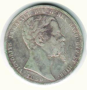 obverse: VITTORIO EMANUELE II - 5 Lire 1850 - GE