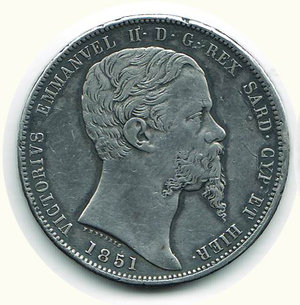 obverse: VITTORIO EMANUELE II - 5 Lire 1851 - GE
