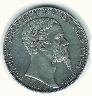 obverse: VITTORIO EMANUELE II - 5 Lire 1860 - TO