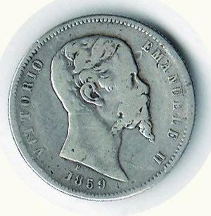 obverse: REGNO D ITALIA Vitt. Em. II re eletto Lira 1859