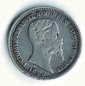 obverse: REGNO DI SARDEGNA Vitt. Emanuele II 50 centesimi 1860