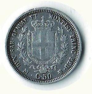 reverse: REGNO DI SARDEGNA Vitt. Emanuele II 50 centesimi 1860