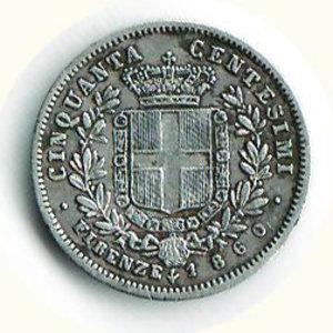 reverse: VITTORIO EMANUELE II - 50 Cent. 1860 - FI