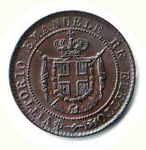 obverse: VITTORIO EMANUELE II Centesimo 1859