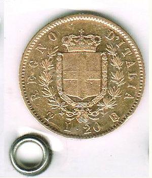 reverse: VITTORIO EMANUELE II - 20 Lire 1861 varietà T su F