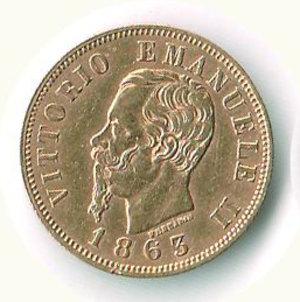obverse: VITTORIO EMANUELE II - 10 Lire 1863 - TO