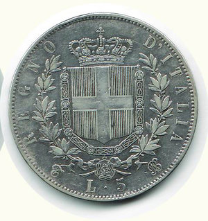 reverse: VITTORIO EMANUELE II - 5 Lire 1865 - TO