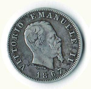 obverse: REGNO D ITALIA - Vittorio Emanuele II - Lira 1867