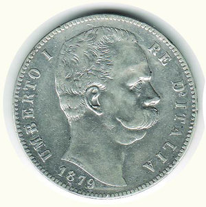 obverse: UMBERTO I - 5 Lire 1879