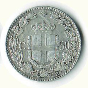 reverse: UMBERTO I - 50 Cent. 1889
