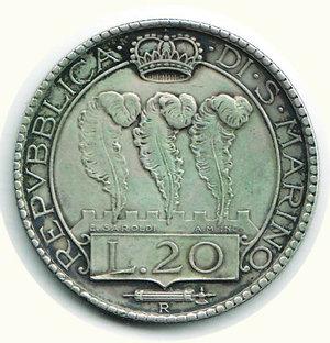 R/ SAN MARINO - 20 Lire 1931 - Pagani 342. AR - BB+