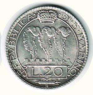 R/ SAN MARINO - 20 Lire 1933. AR - q.FDC