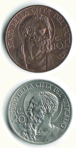 obverse: CITTA  DEL VATICANO 10 e 20 centesimi 1932