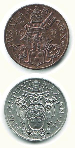 reverse: CITTA  DEL VATICANO 10 e 20 centesimi 1932