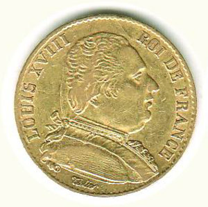 obverse: FRANCIA - Luigi XVIII - 20 Franchi 1814