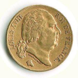 obverse: FRANCIA Luigi XVIII 20 Francs 1824