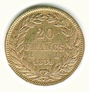 reverse: FRANCIA - Luigi Filippo - 20 Franchi 1831