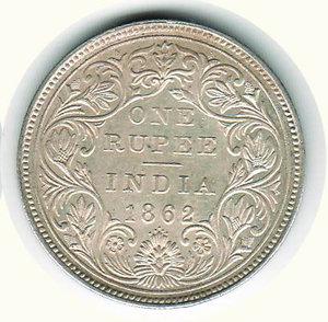 reverse: INDIA - Protettorato Britannico - Vittoria 1862 - Rupia