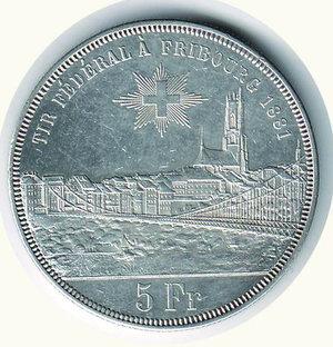reverse: SVIZZERA - Tiri federali Friburgo - 5 Franchi 1881