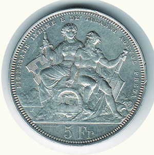 reverse: SVIZZERA - Tiri federali Lugano - 5 Franchi 1883