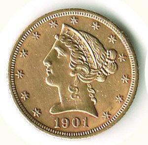 obverse: STATI UNITI - 5 Dollari 1901