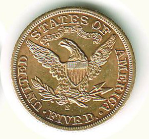 reverse: STATI UNITI - 5 Dollari 1901