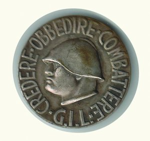 obverse: DISTINTIVO - GIL Effige Mussolini