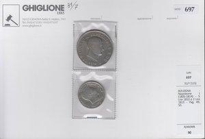 obverse: BOLOGNA Napoleone I 5 lire 1810 e 2 lire 1813