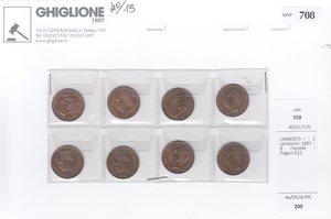 obverse: UMBERTO I - 2 centesimi 1897 - 8 monete