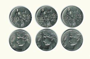 obverse: VITTORIO EMANUELE III - 3 molente da 20 Cent