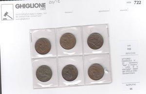 obverse: VITTORIO EMANUELE III 10 centesimi lotto 6 esemplari
