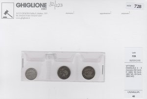 obverse: VITTORIO EMANUELE II - 3 monete