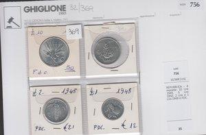 obverse: REPUBBLICA - 4 monete