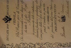 D/ PROVINCIA VENETA (Austria) - Banco Giro di Venezia - 100 Ducati da L. 8 01/10/1798 - Firme: Giovanelli / Fovel / Schiantarelli - Crapanzano GV3. SPL