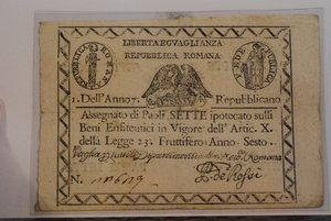 D/ I REPUBBLICA ROMANA - Assegnato da Paoli 7 A. VI (1798) - Firma P. De Rossi - Formato - 140x100 - Gamb. 1929. R - BB