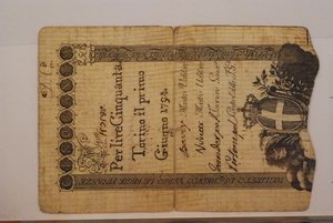 D/ REGNO DI SARDEGNA - Vittorio Amedeo III - 50 Lire 01/06/1794 (4° tipo) - Firme: Bardy / Viretti / Jeandet / Pertone - Crapanzano RF 38. MB