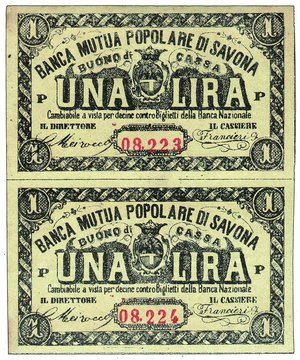D/ SAVONA - Banca Mutua Popolare - Lira - buono di cassa - 2 biglietti indivisi in numerazione progressiva - Gamb. 1524 RR - FDS