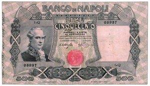 D/ BANCO NAPOLI - 500 Lire 07/12/1909 Miraglia Mancini - Piega stirata. RRR - q.SPL