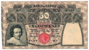D/ BANCO NAPOLI - 50 Lire 30/12/1909 Miraglia Mancini. q.FDC